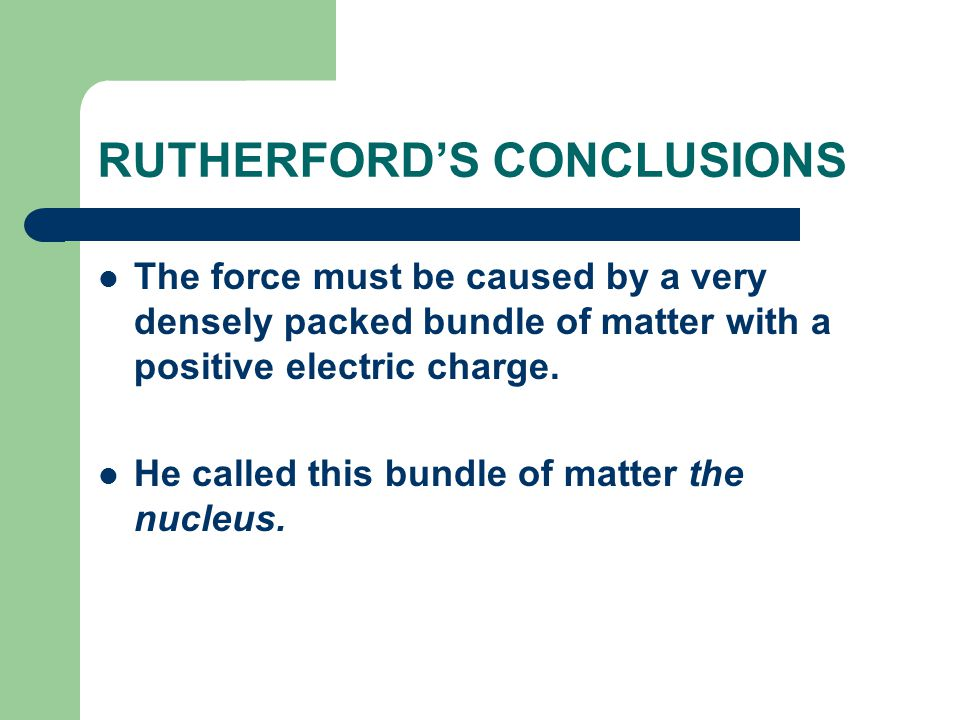 RUTHERFORD'S CONCLUSIONS