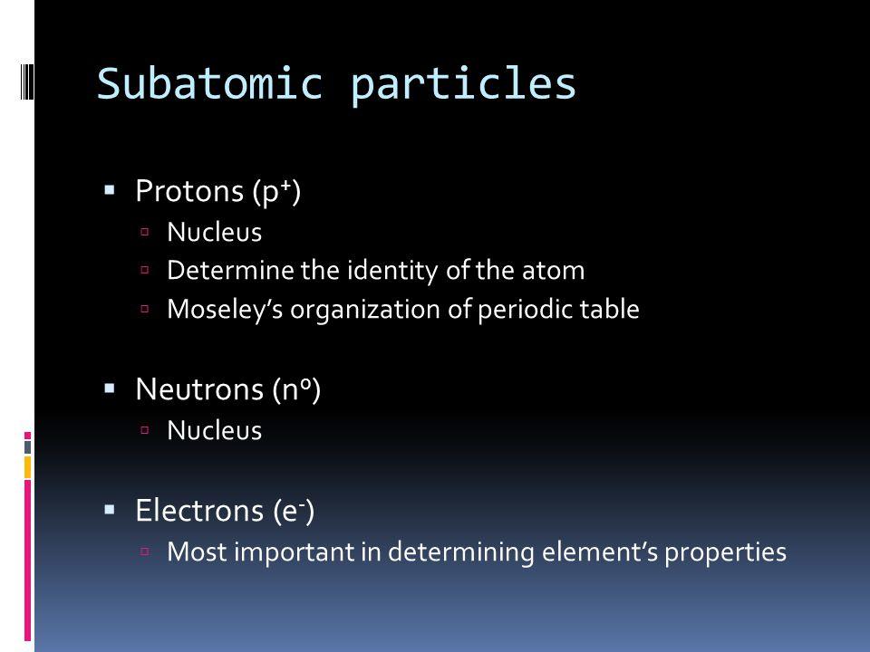 Subatomic particles Protons (p+) Neutrons (n0) Electrons (e-) Nucleus