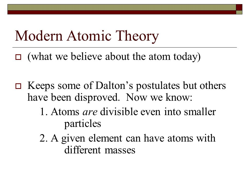 Modern Atomic Theory (what we believe about the atom today)