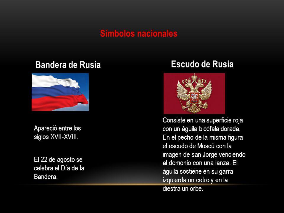 Símbolos nacionales Bandera de Rusia Escudo de Rusia