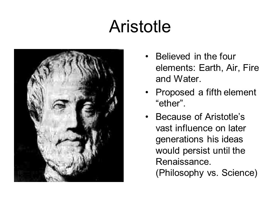 Aristotle Believed in the four elements: Earth, Air, Fire and Water.