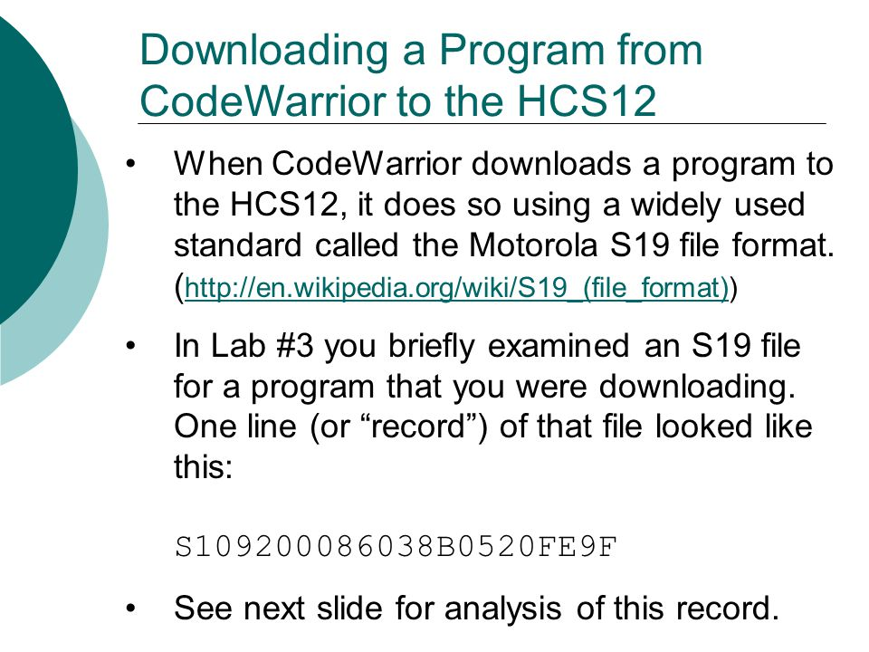 Downloading a Program from CodeWarrior to the HCS12