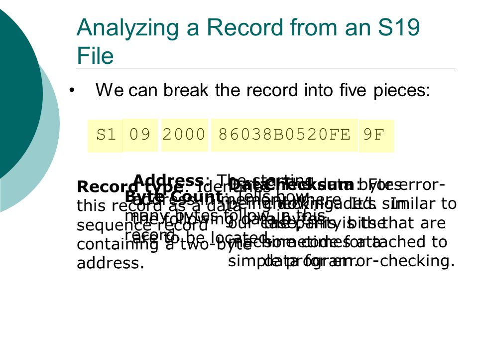 Analyzing a Record from an S19 File