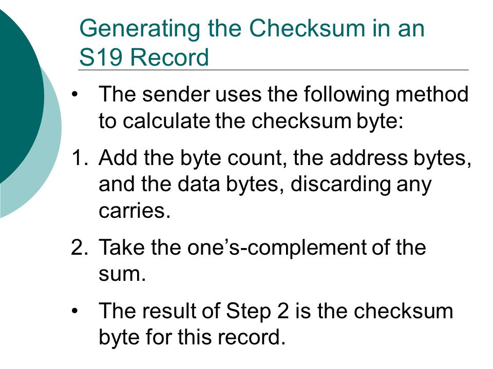 Generating the Checksum in an S19 Record