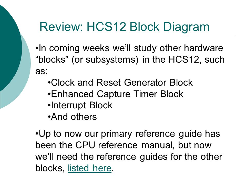 Review: HCS12 Block Diagram