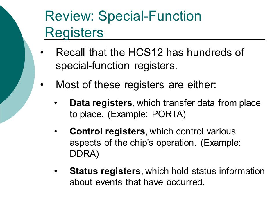 Review: Special-Function Registers