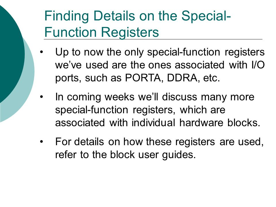 Finding Details on the Special-Function Registers