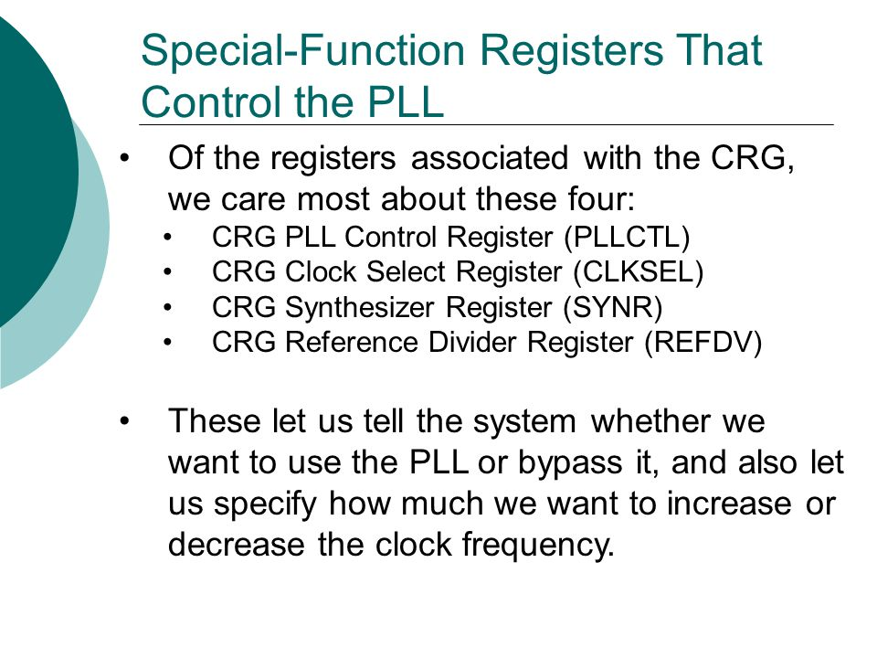 Special-Function Registers That Control the PLL