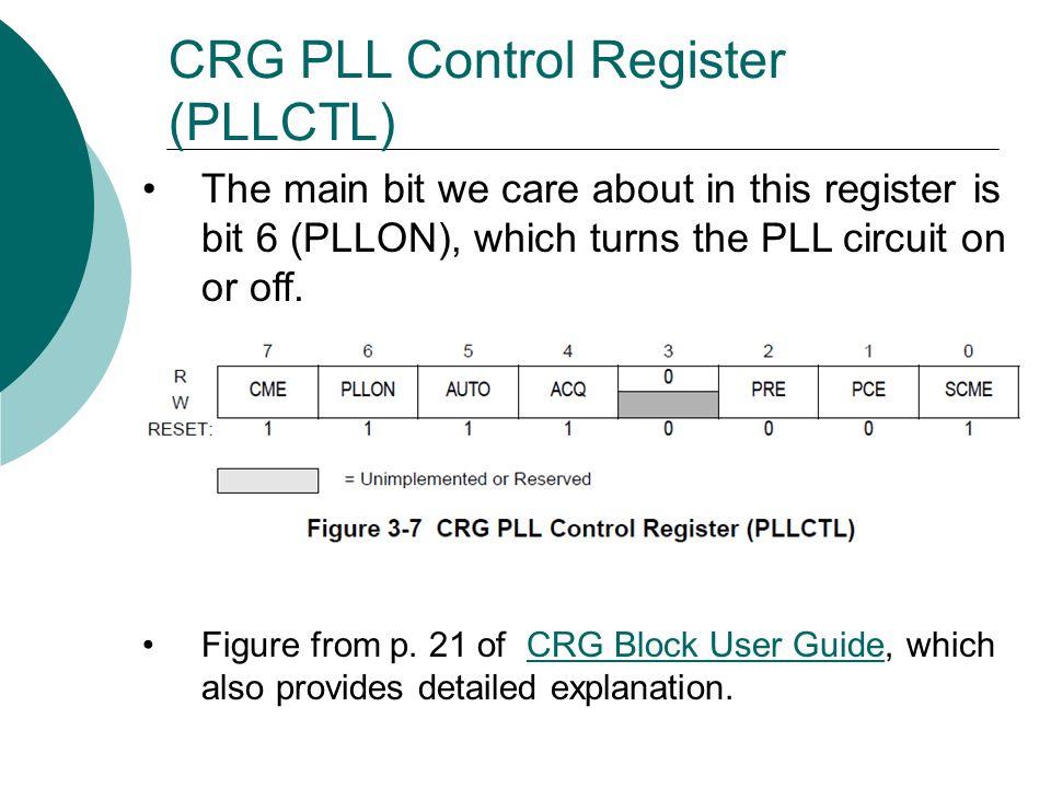 CRG PLL Control Register (PLLCTL)
