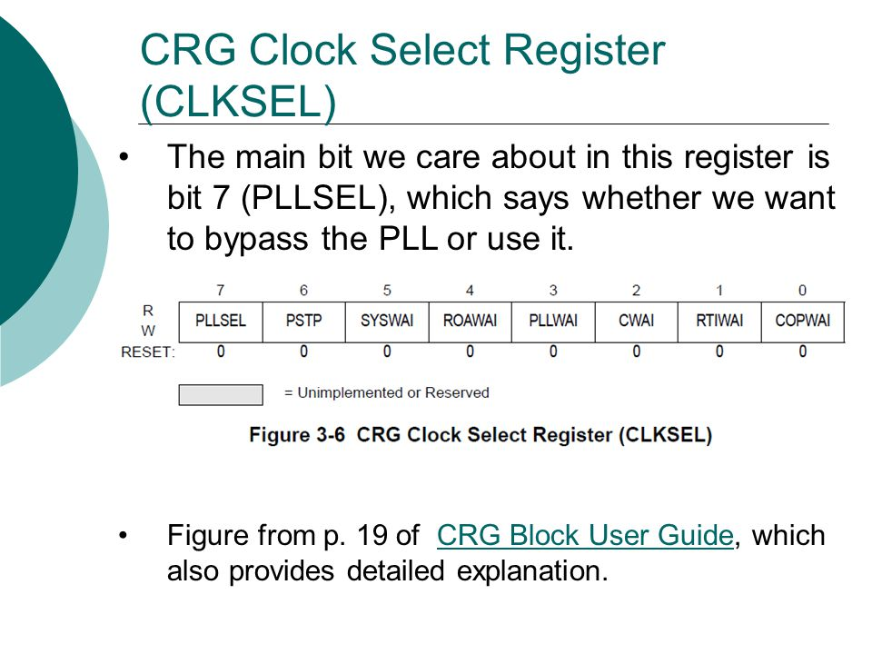 CRG Clock Select Register (CLKSEL)