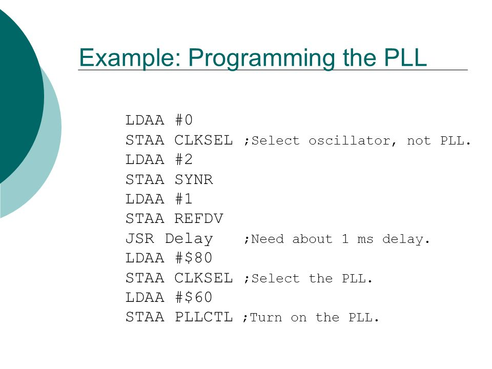 Example: Programming the PLL