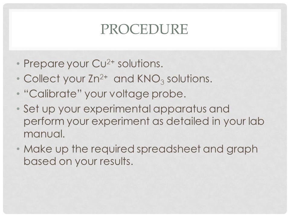 Procedure Prepare your Cu2+ solutions.