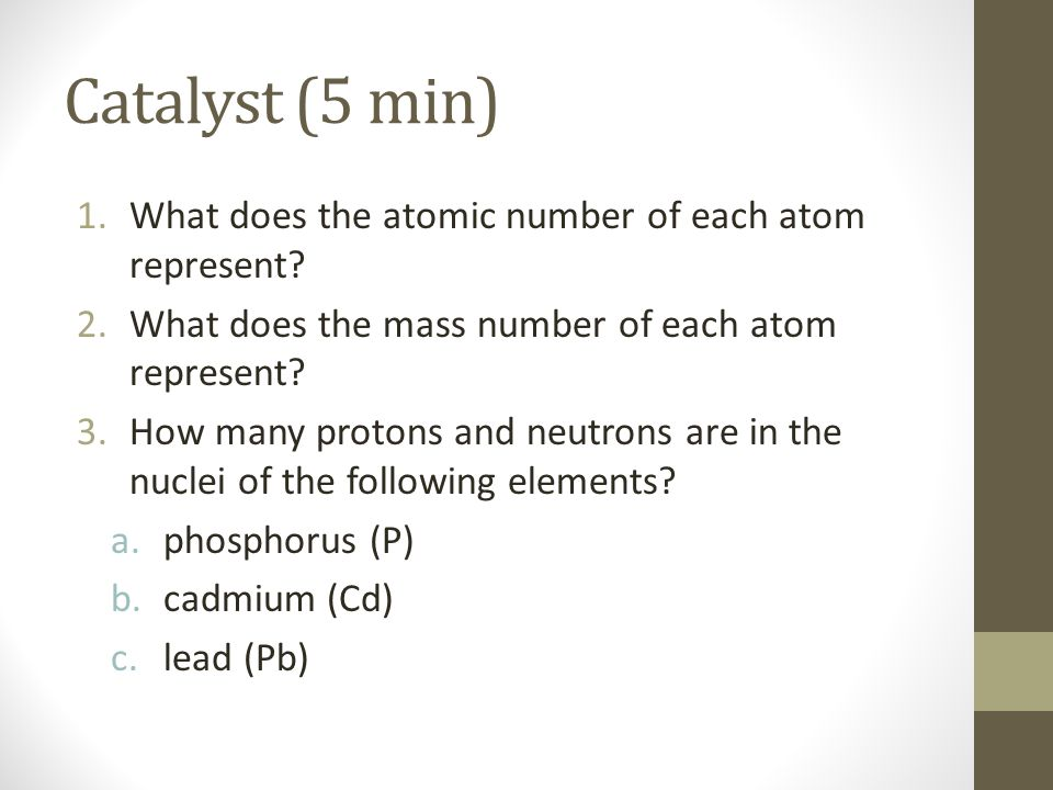 Catalyst (5 min) What does the atomic number of each atom represent