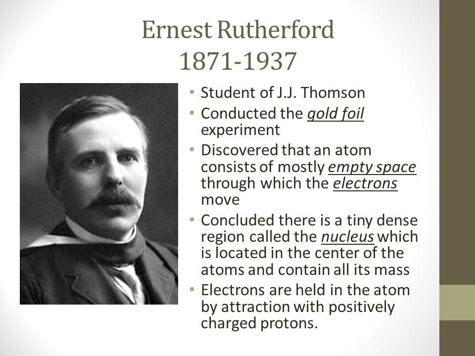 Ernest Rutherford 1871-1937 Student of J.J. Thomson