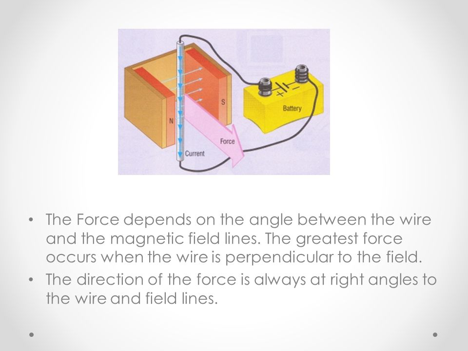 The Force depends on the angle between the wire and the magnetic field lines. The greatest force occurs when the wire is perpendicular to the field.