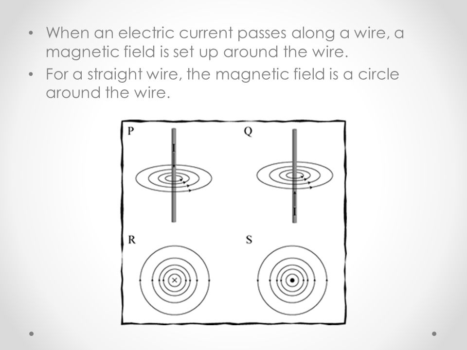When an electric current passes along a wire, a magnetic field is set up around the wire.