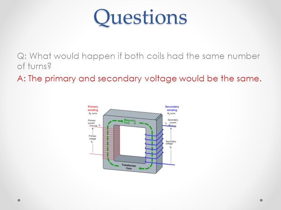 Questions Q: What would happen if both coils had the same number of turns.