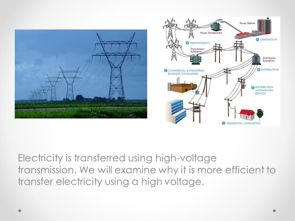 Electricity is transferred using high-voltage transmission