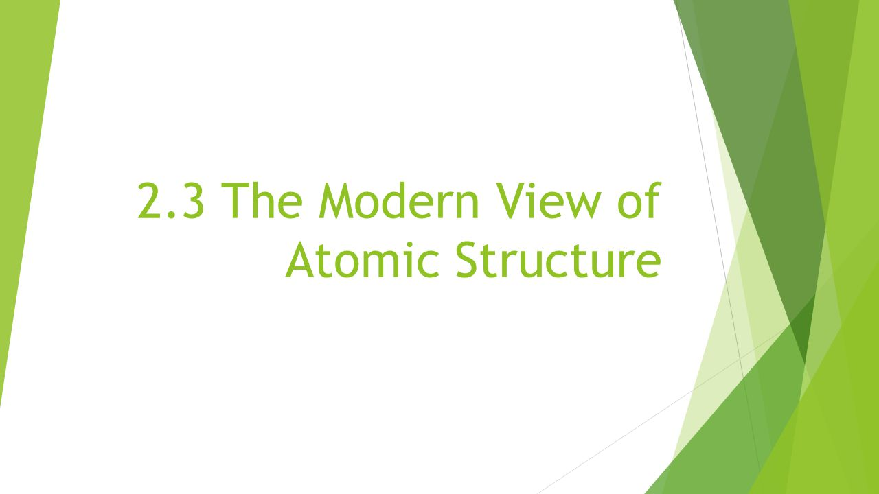 2.3 The Modern View of Atomic Structure