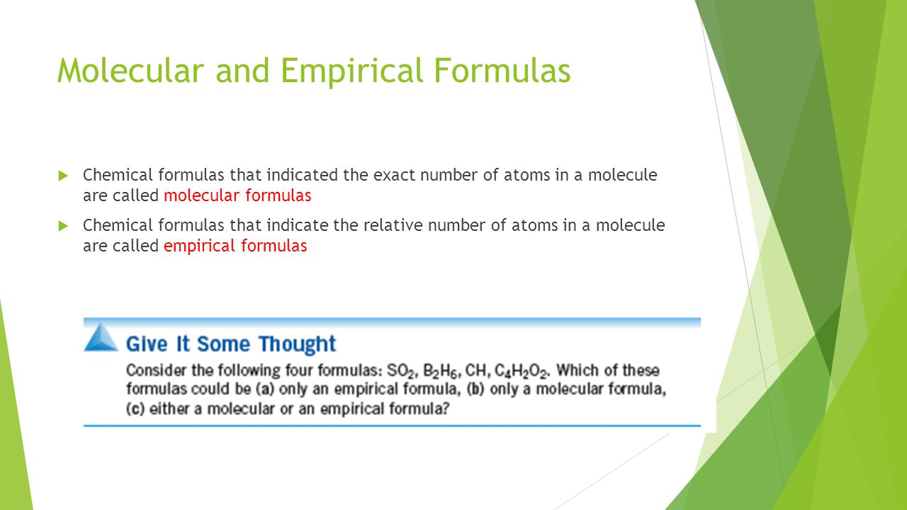 Molecular and Empirical Formulas