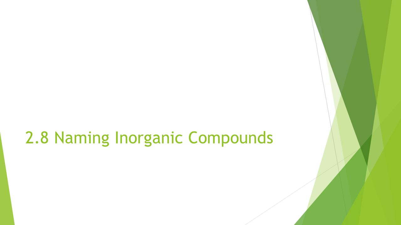 2.8 Naming Inorganic Compounds