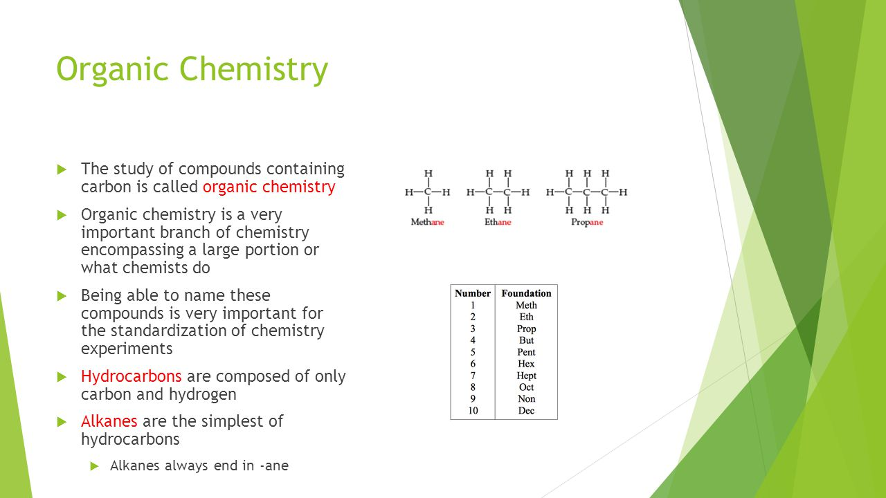 Organic Chemistry The study of compounds containing carbon is called organic chemistry.
