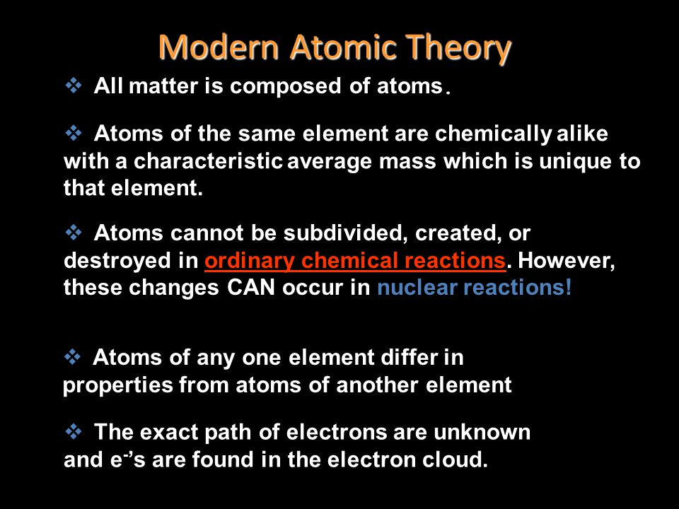 Modern Atomic Theory All matter is composed of atoms.