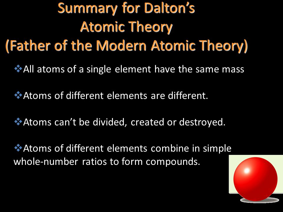 Summary for Dalton's Atomic Theory (Father of the Modern Atomic Theory)