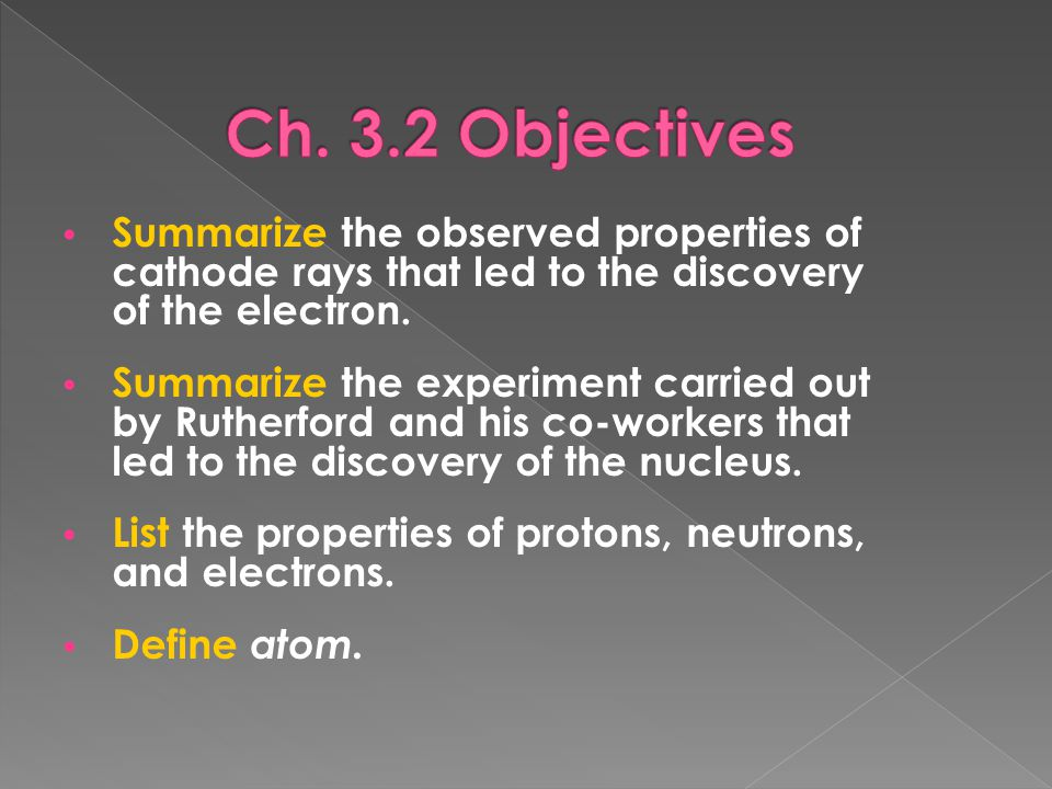 Ch. 3.2 Objectives Summarize the observed properties of cathode rays that led to the discovery of the electron.