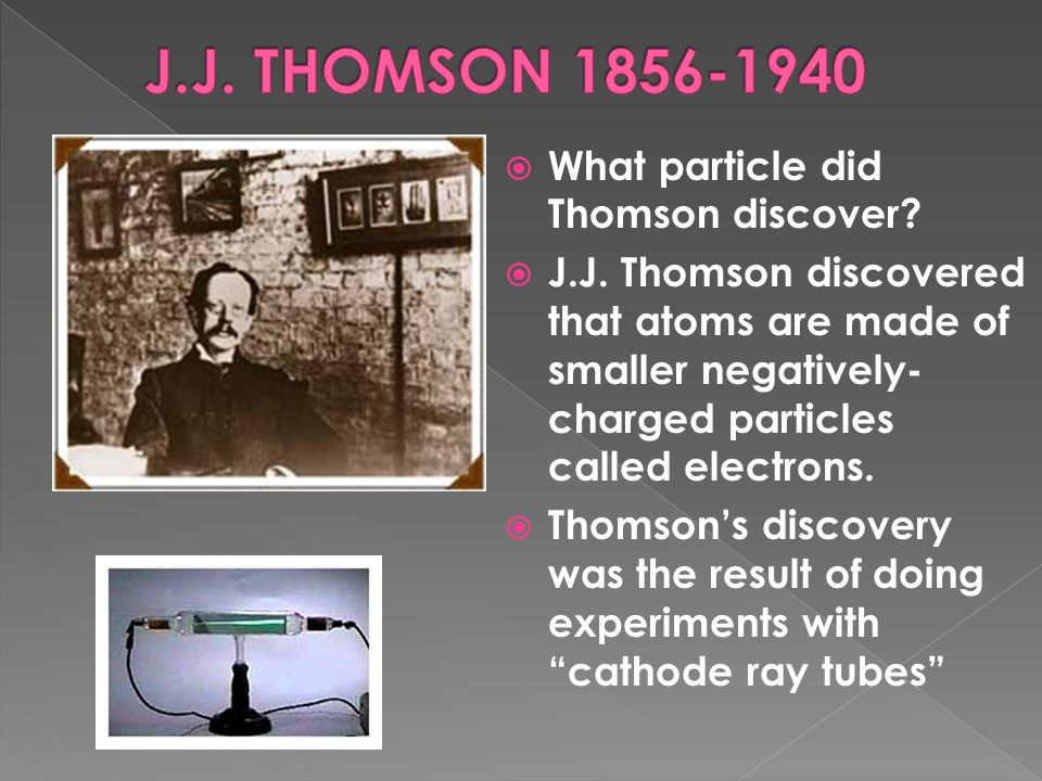 J.J. THOMSON 1856-1940 What particle did Thomson discover