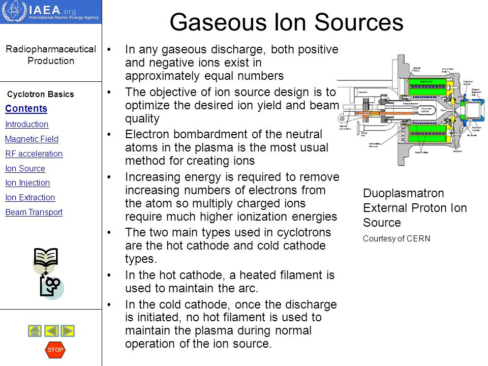 Gaseous Ion Sources In any gaseous discharge, both positive and negative ions exist in approximately equal numbers.