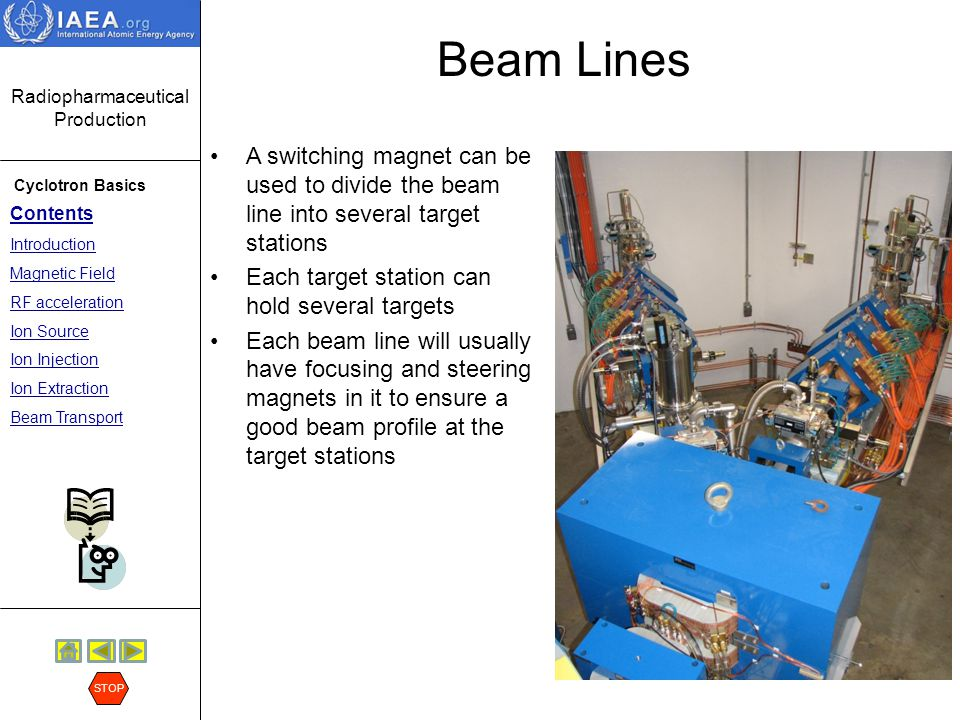 Beam Lines A switching magnet can be used to divide the beam line into several target stations. Each target station can hold several targets.