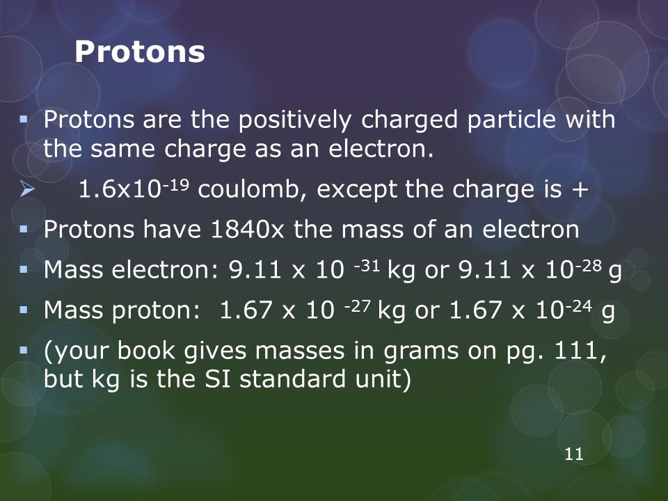 Protons Protons are the positively charged particle with the same charge as an electron. 1.6x10-19 coulomb, except the charge is +