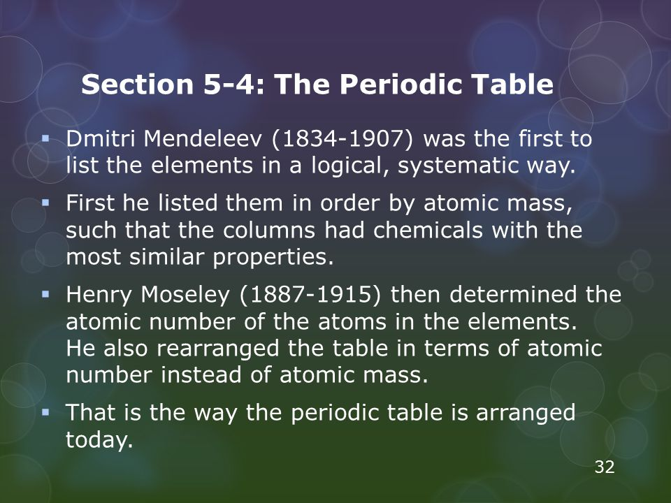 Section 5-4: The Periodic Table