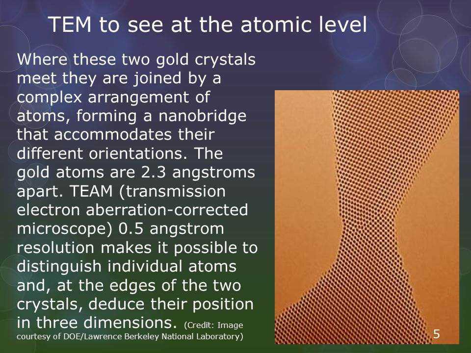 TEM to see at the atomic level