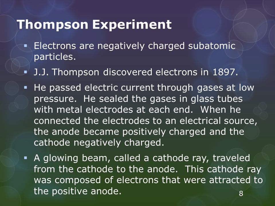 Thompson Experiment Electrons are negatively charged subatomic particles. J.J. Thompson discovered electrons in 1897.