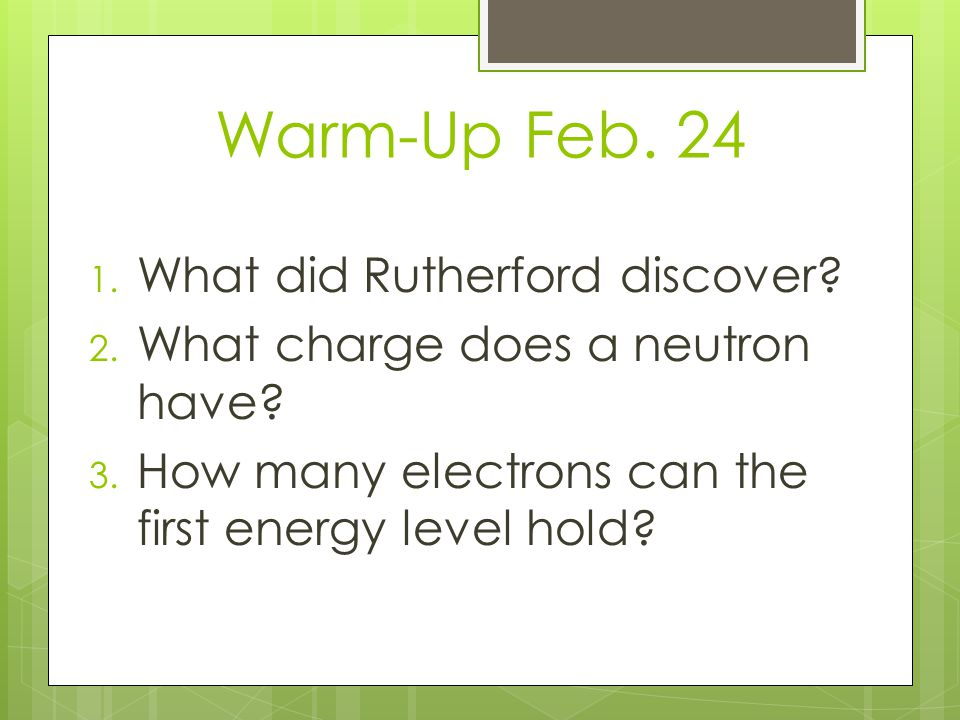 Warm-Up Feb. 24 What did Rutherford discover