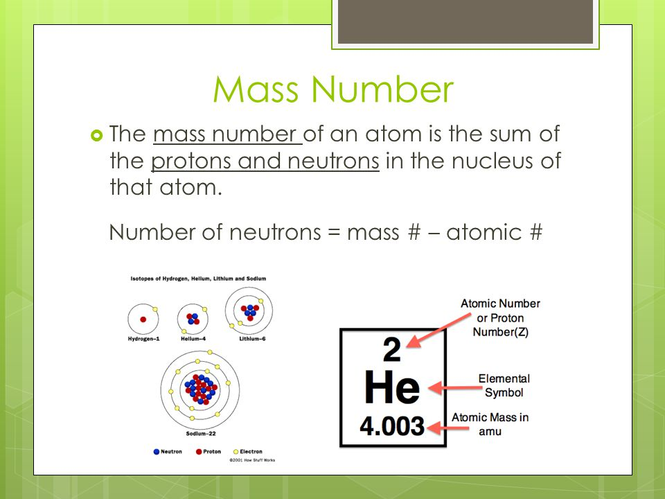 Number of neutrons = mass # – atomic #