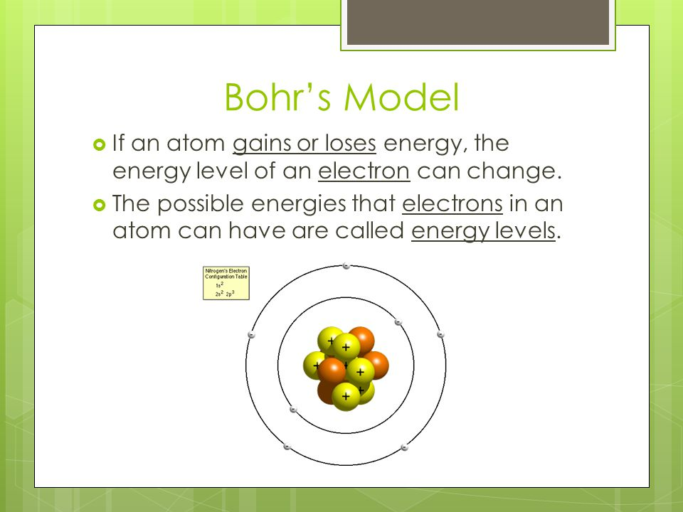 Bohr's Model If an atom gains or loses energy, the energy level of an electron can change.