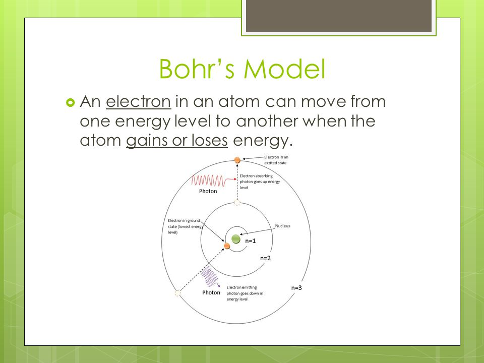 Bohr's Model An electron in an atom can move from one energy level to another when the atom gains or loses energy.