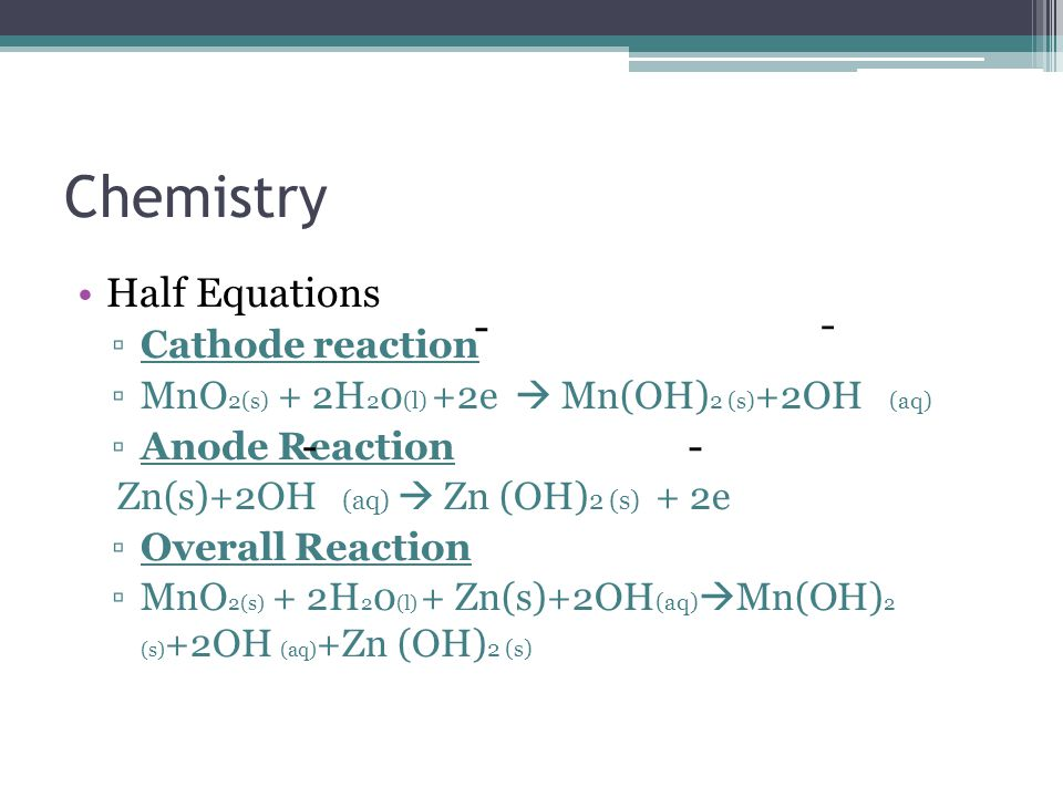 Chemistry Half Equations - - - - Cathode reaction