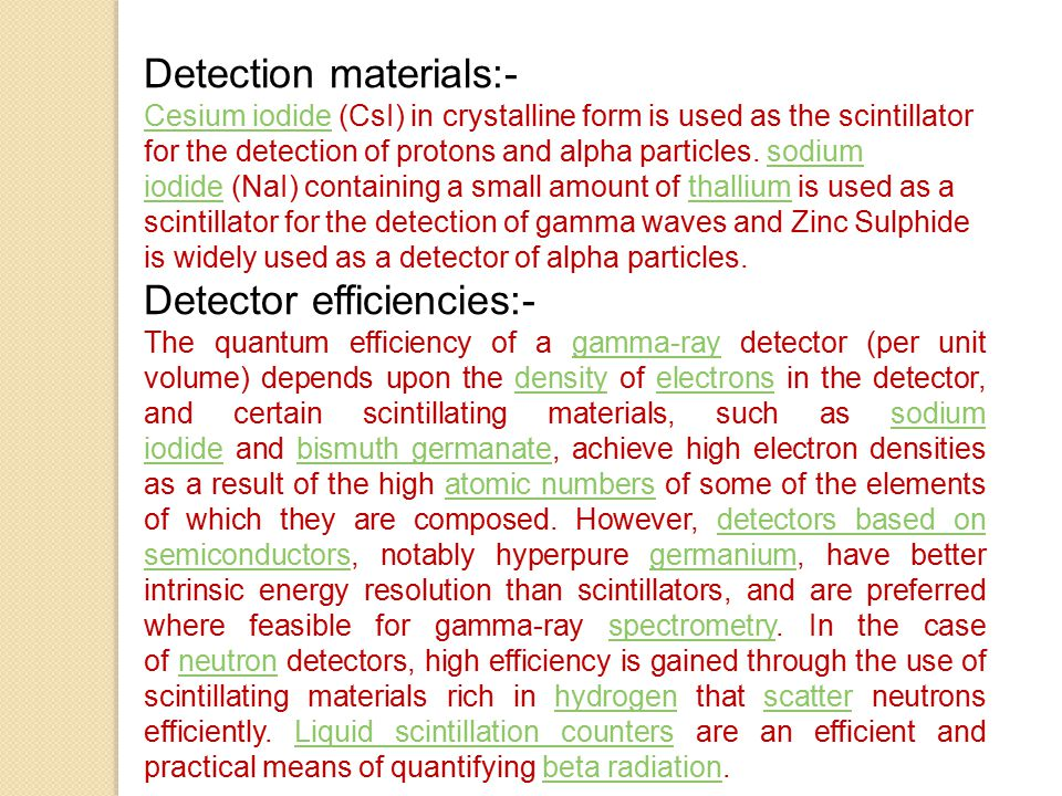 Detection materials:-