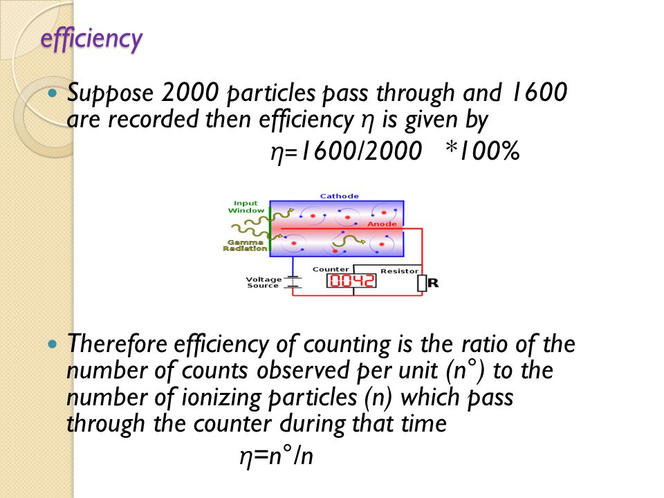 efficiency Suppose 2000 particles pass through and 1600 are recorded then efficiency η is given by.