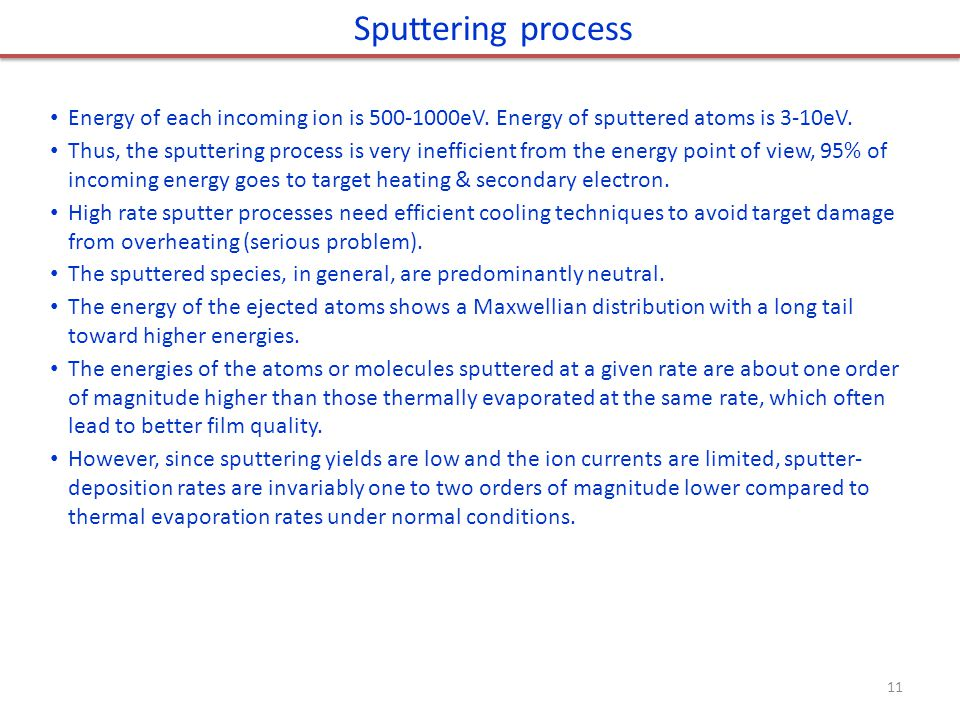 Sputtering process Energy of each incoming ion is 500-1000eV. Energy of sputtered atoms is 3-10eV.