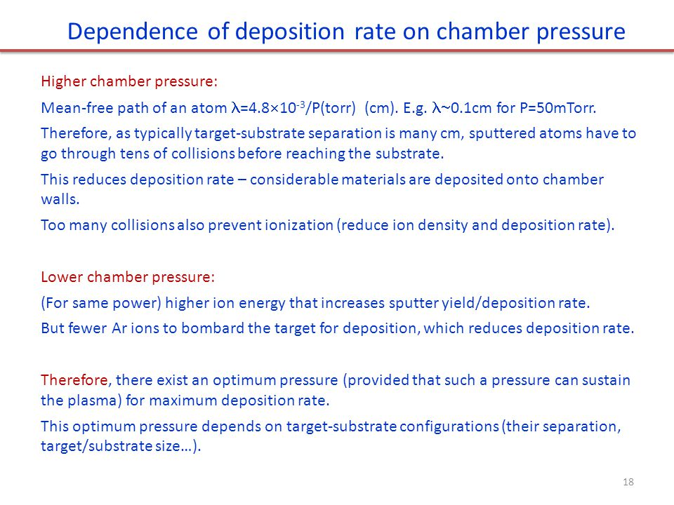 Dependence of deposition rate on chamber pressure