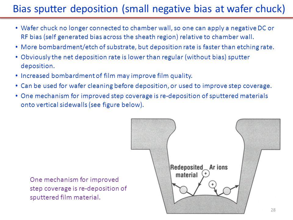 Bias sputter deposition (small negative bias at wafer chuck)