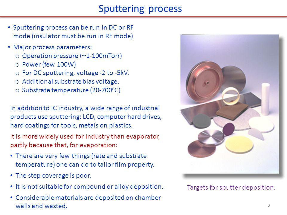 Sputtering process Sputtering process can be run in DC or RF mode (insulator must be run in RF mode)