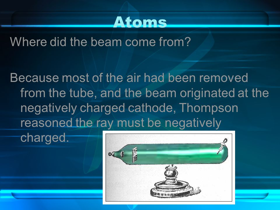 Atoms Where did the beam come from