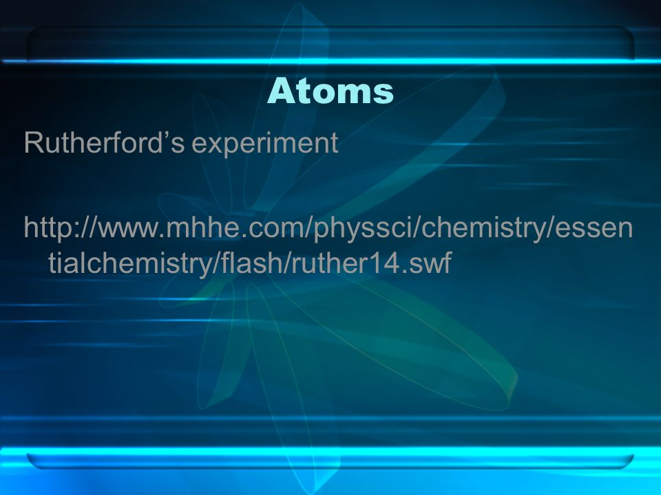 Atoms Rutherford's experiment