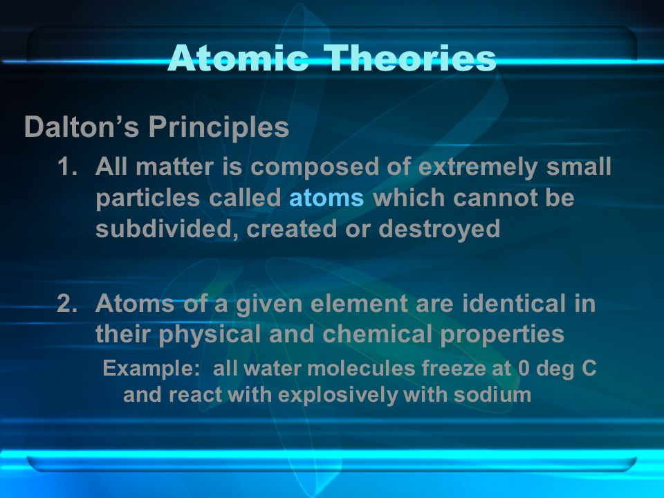 Atomic Theories Dalton's Principles
